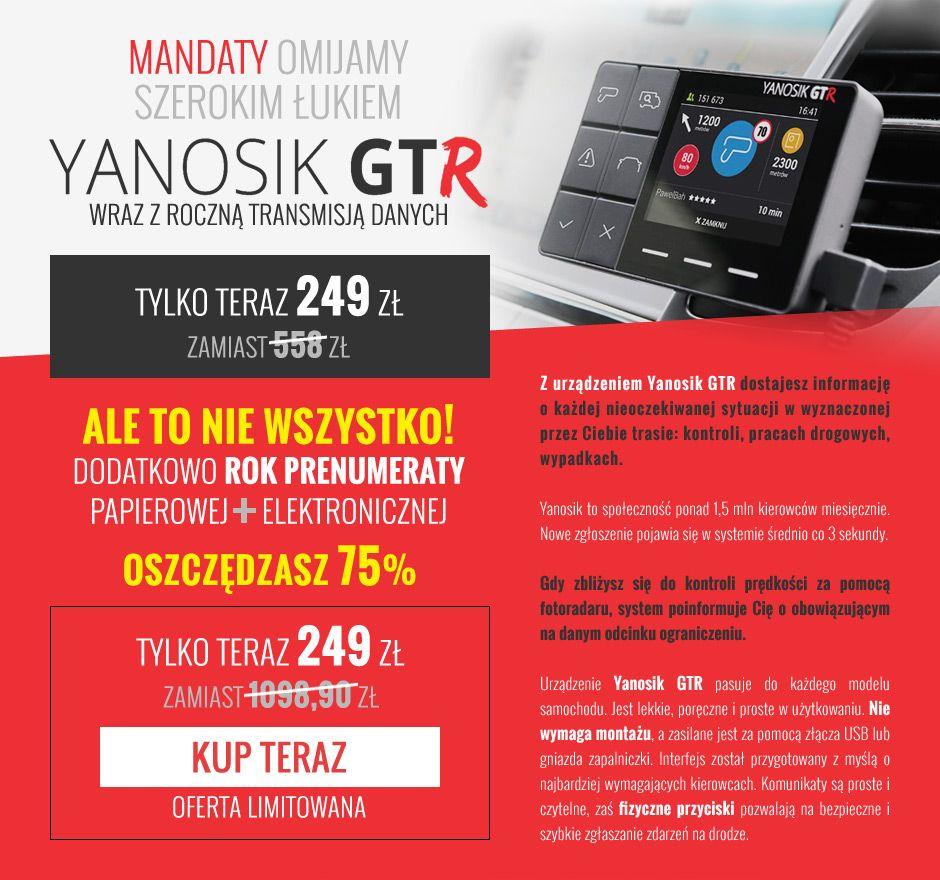 Urządzenie Yanosik GTR z rocznym abonamentem + roczna prenumerata papierowego i elektronicznego wydania magazynu Wprost