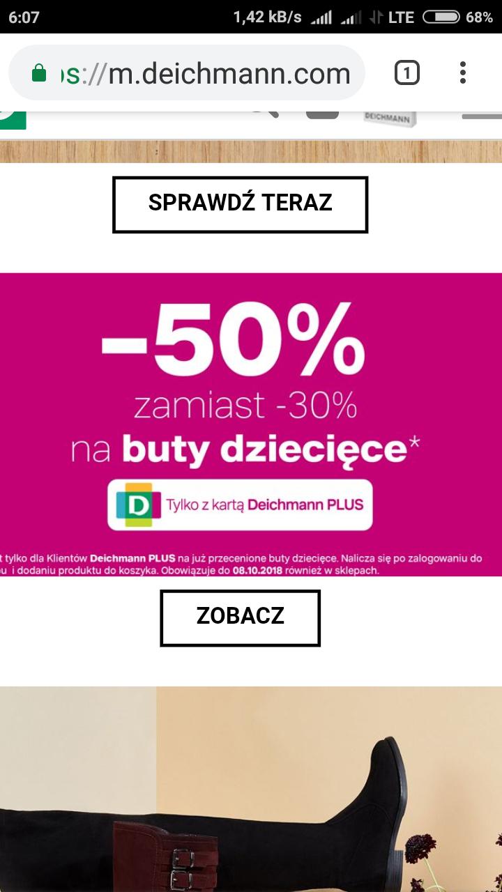 -50% na przecenione buty dziecięce w Deichman