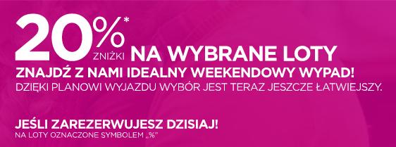 Wizz Air -20% na wybrane połączenia tylko dziś 4.10.2018