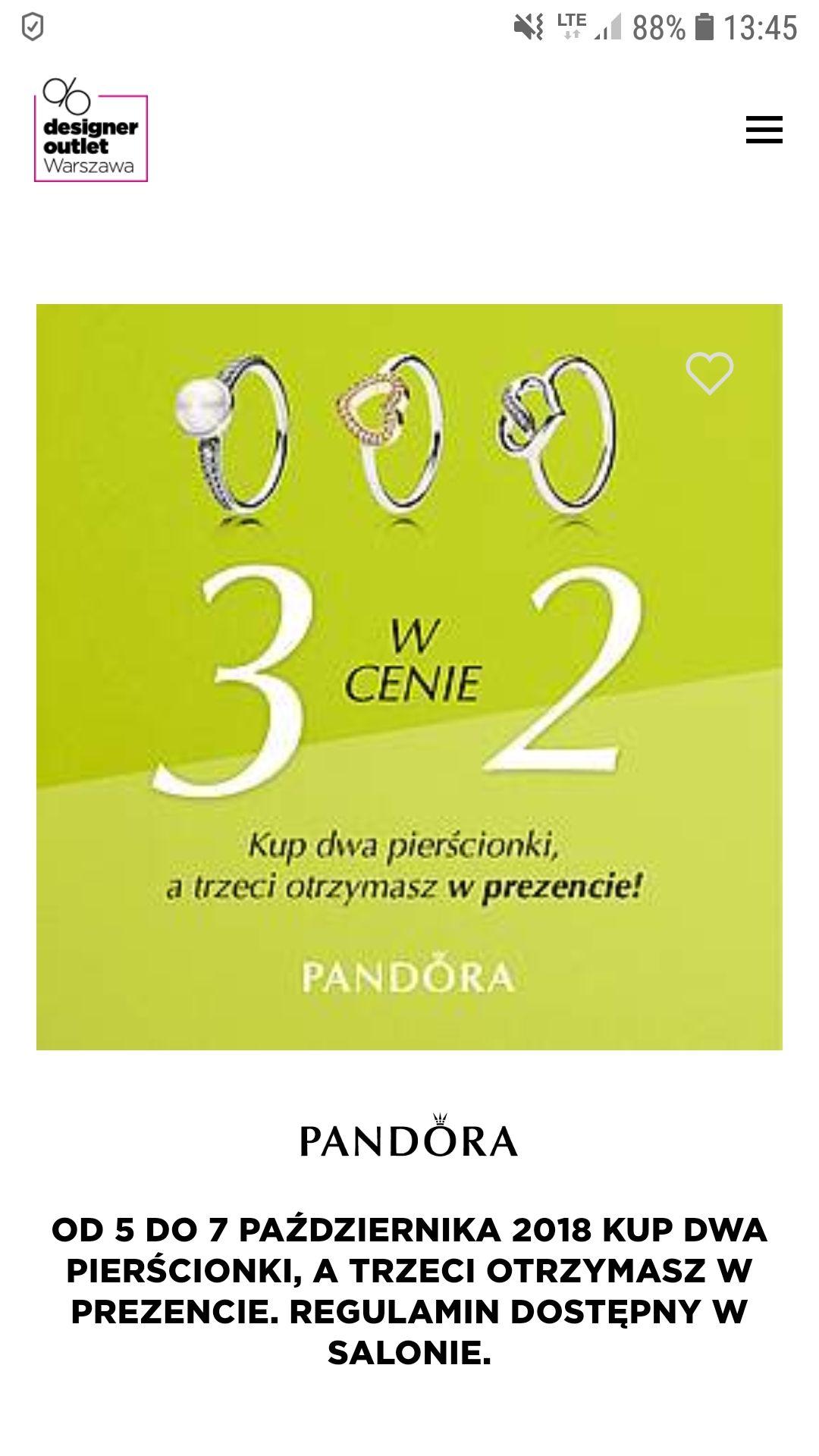 3 za 2 na pierścionki Pandora w Designer Outlet