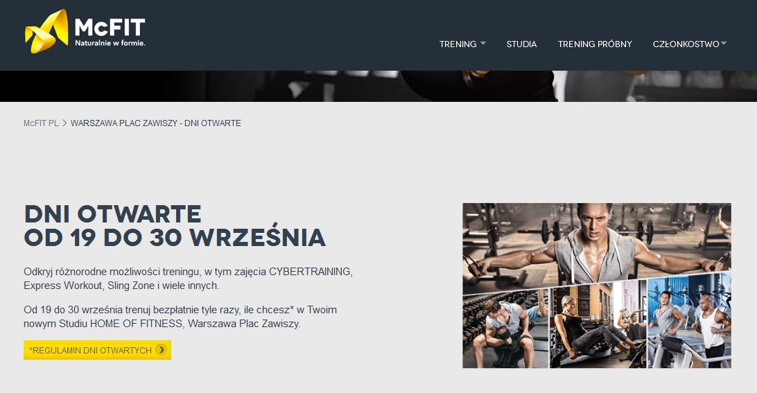 Bezpłatne trenowanie do końca września w McFit w Warszawie @ McFit