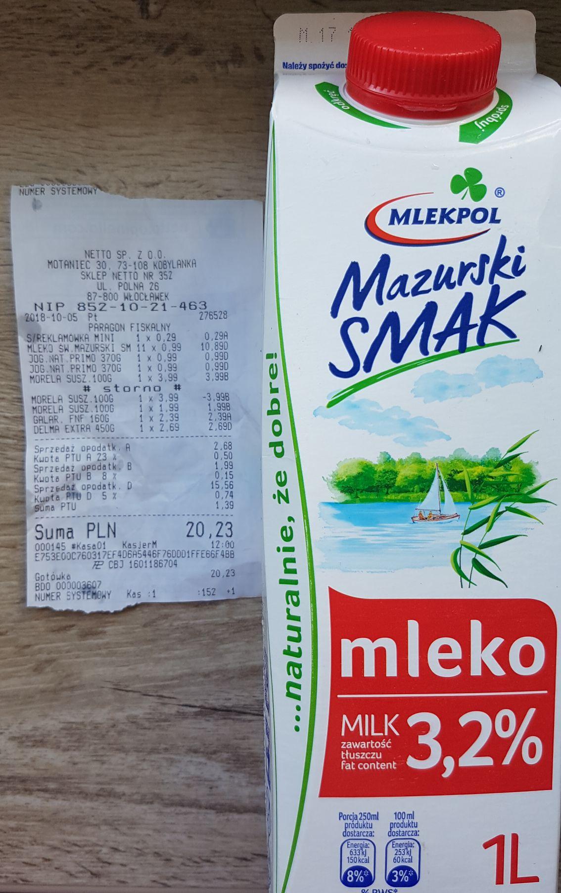 Mlekpol Mazurski Smak Mleko 3,2% 1 l NETTO (lokalnie?)