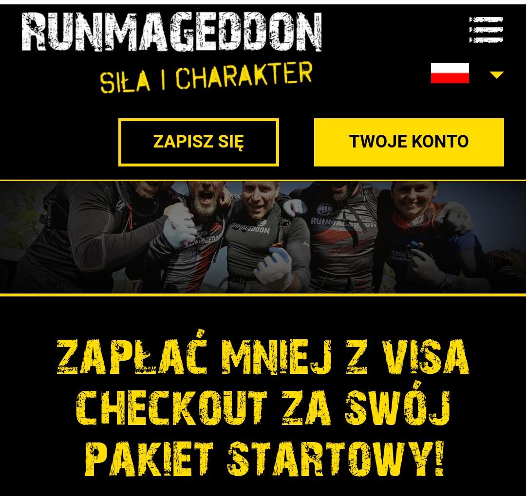 Pakiet startowy na RUNMAGEDDON tańszy o 25 zł z Visa Checkout