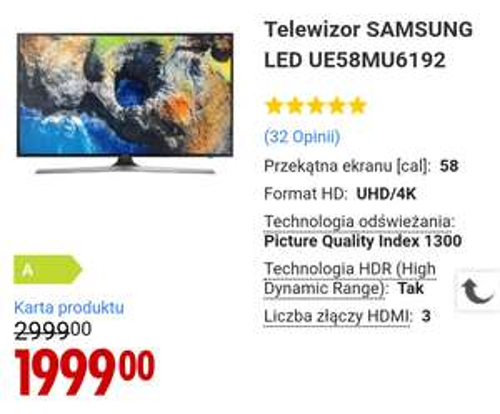 "Samsung 58"" w Media Expert"