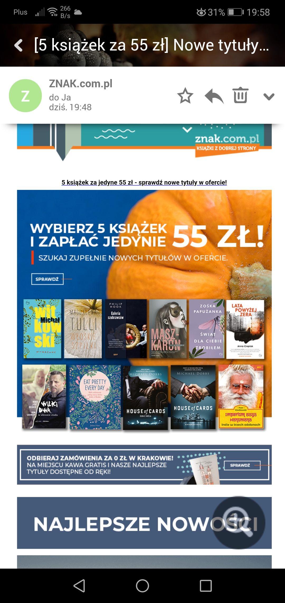 5 ksiażek za 55zł / Znak.com.pl