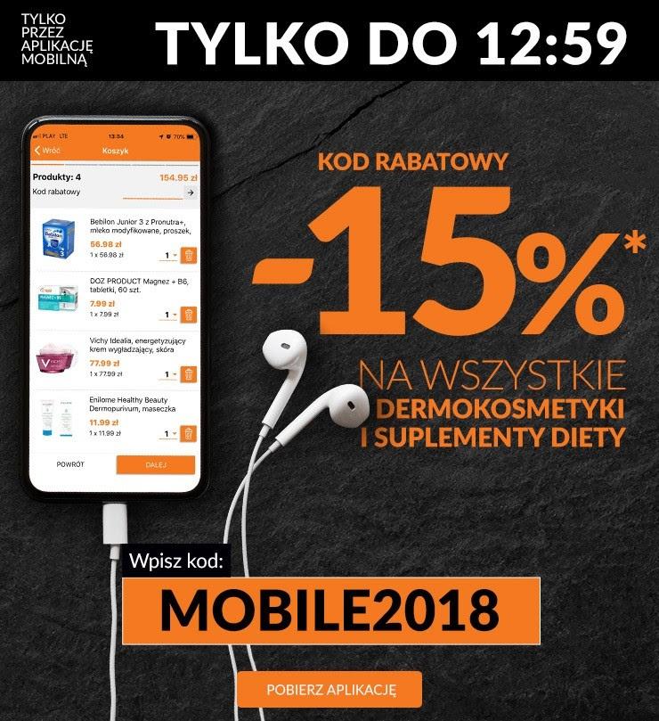 -15 % mniej za zamówienie dermokosmetyków i suplementów diety przez aplikacje mobilną w aptece DOZ