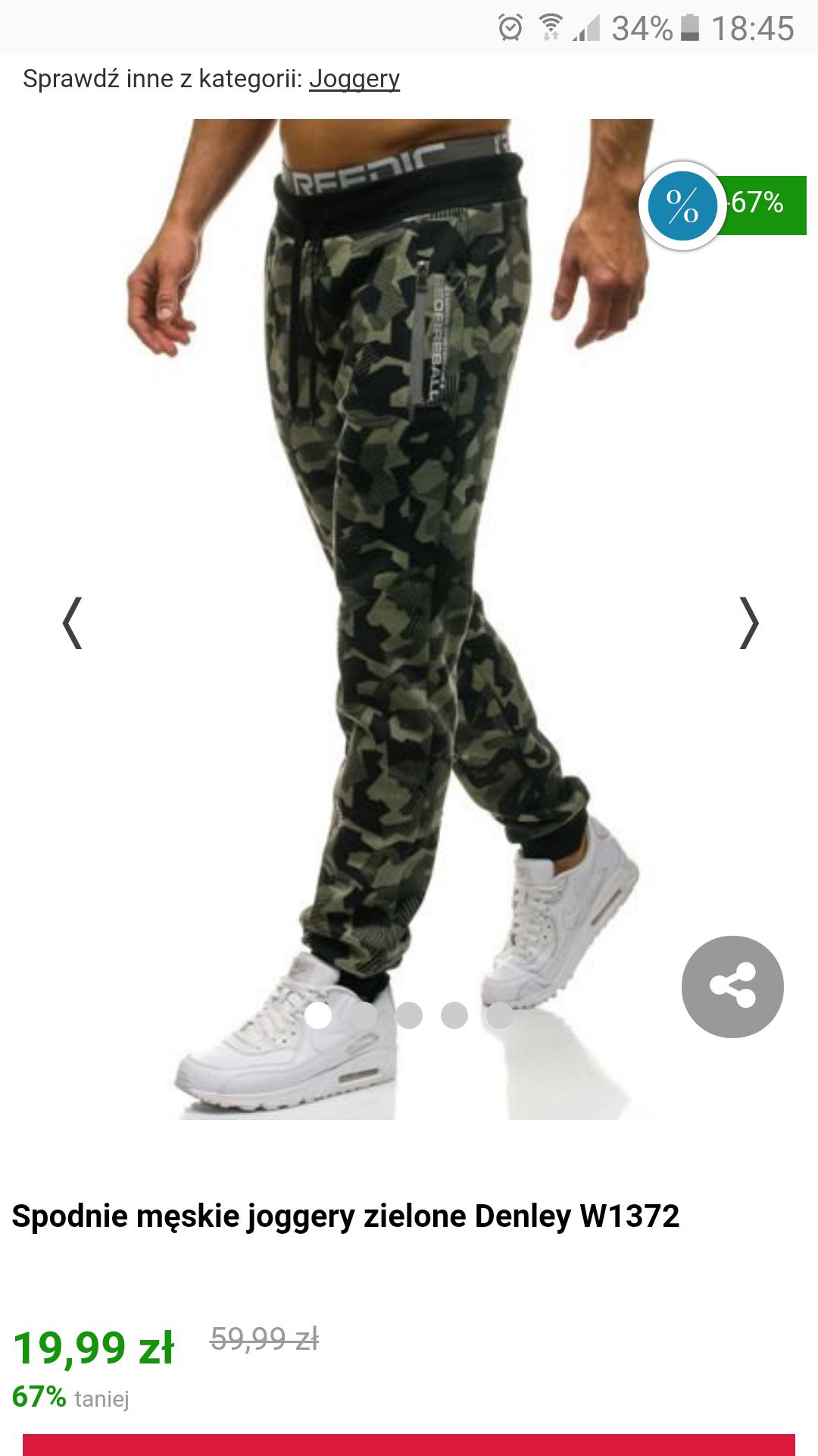 Spodnie męskie joggery zielone Denley W1372