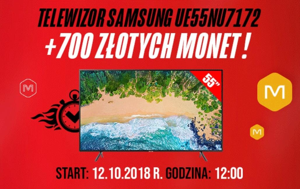 Od 12.10.2018 od godziny 12:00 będzie dostępny telewizor Samsung UE55NU7172 + 700 monet ( =700 zł do wydania na Allegro)