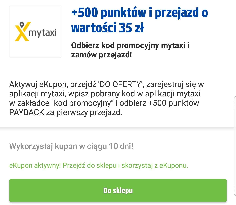 Kupon Payback do MyTaxi: -35 zł na pierwszy przejazd dla nowych użytkowników +500 punktów Payback