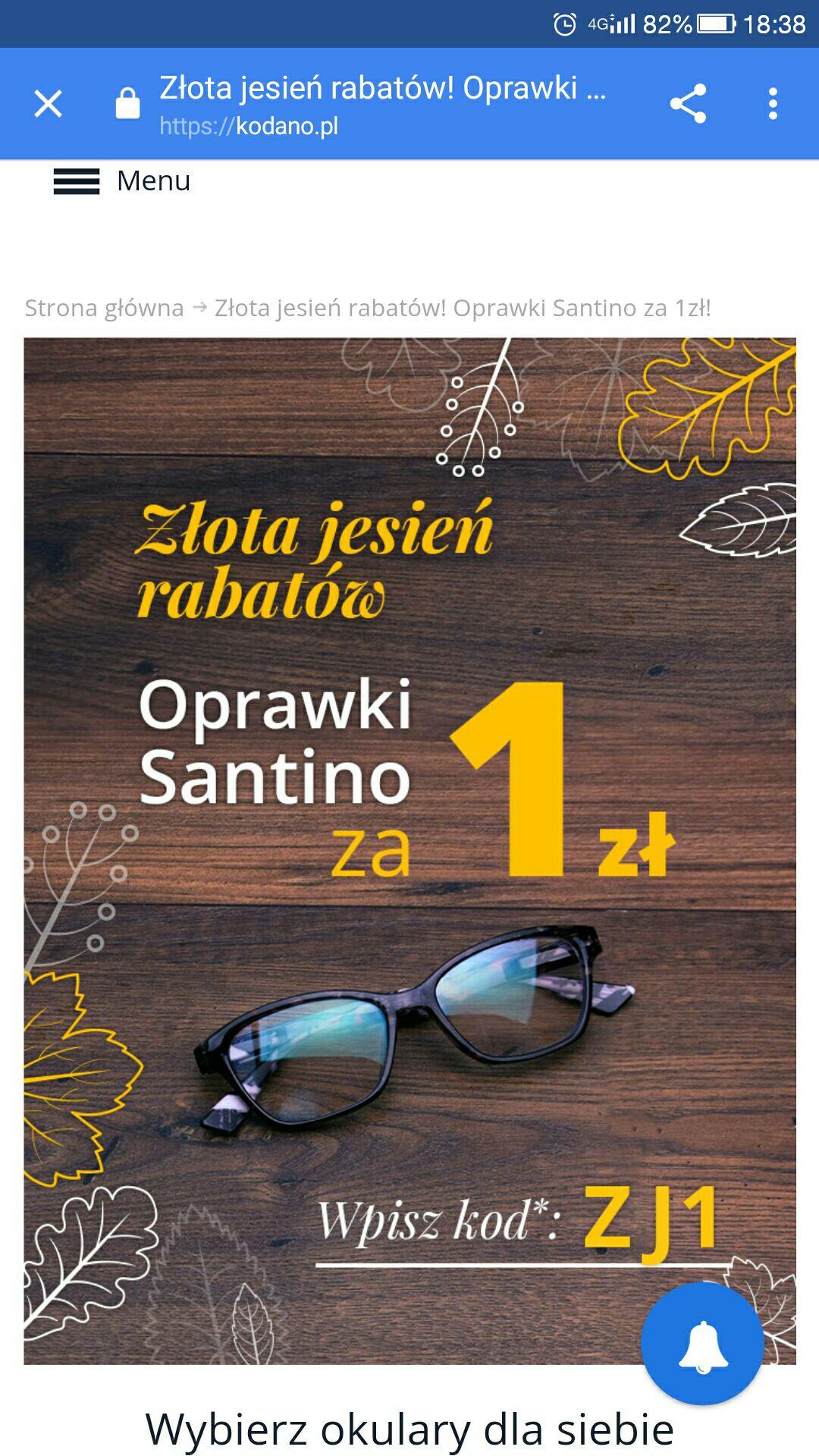 Oprawki Santino za 1 zł + szkła , TANIE OKULARY