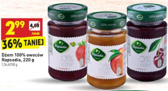 Dżem Rapsodia 100% owoców (słodzony sokiem jabłkowym) BIEDRONKA