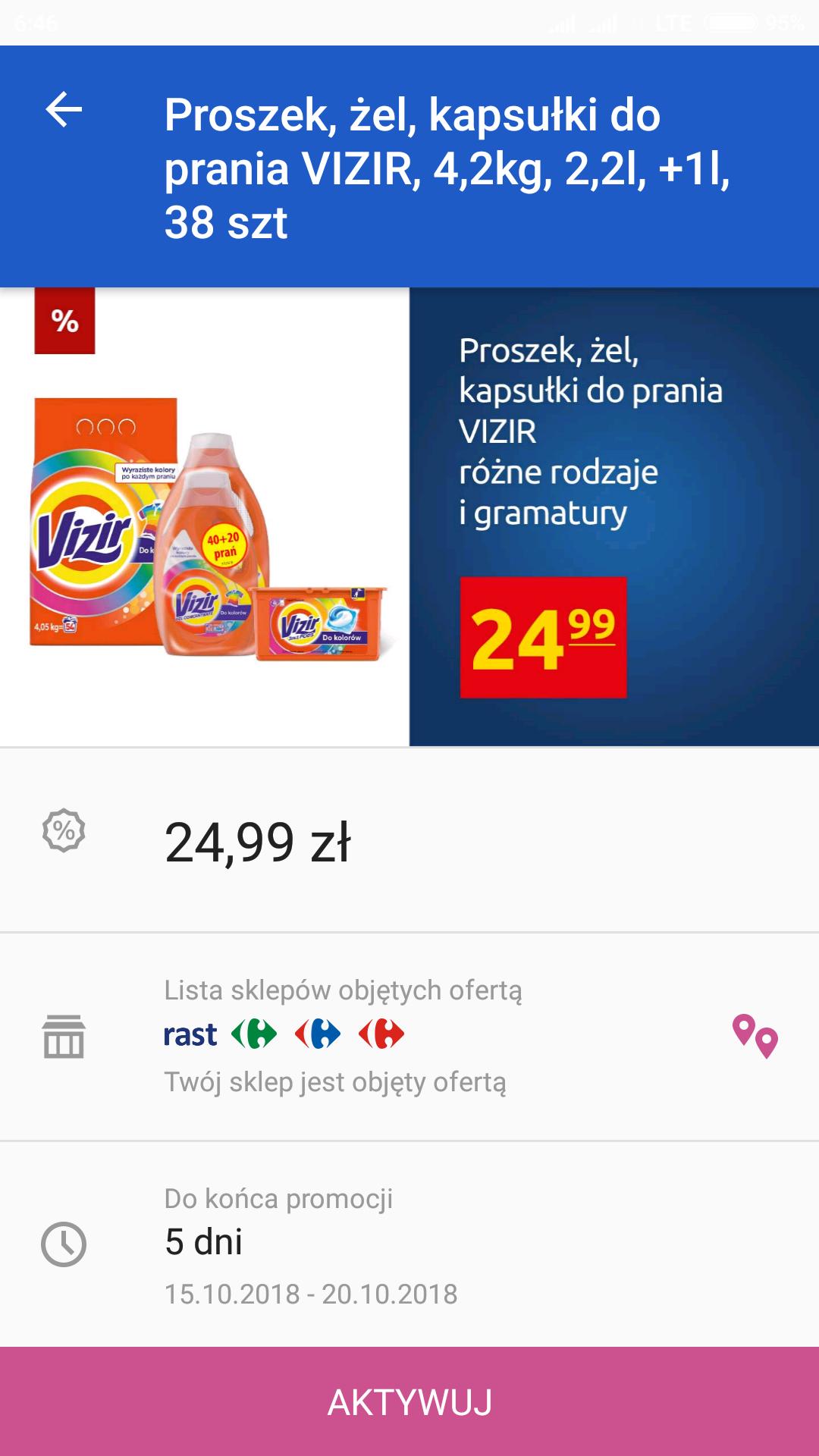 Vizir kapsułki, proszek i żel do prania z aplikacją Carrefour