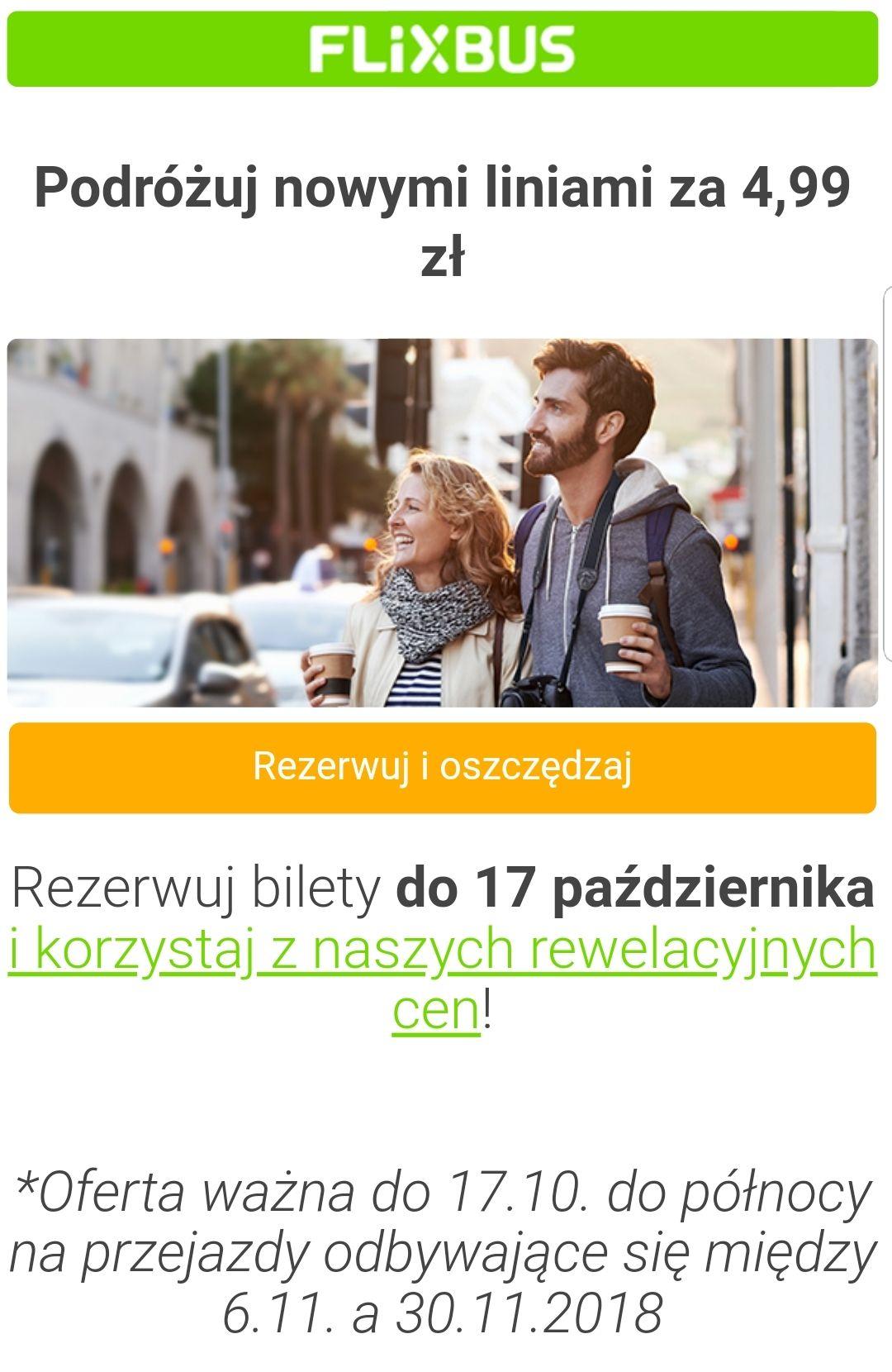 Flixbus 4,99 na nowych trasach m.in. z Warszawy, Legnicy