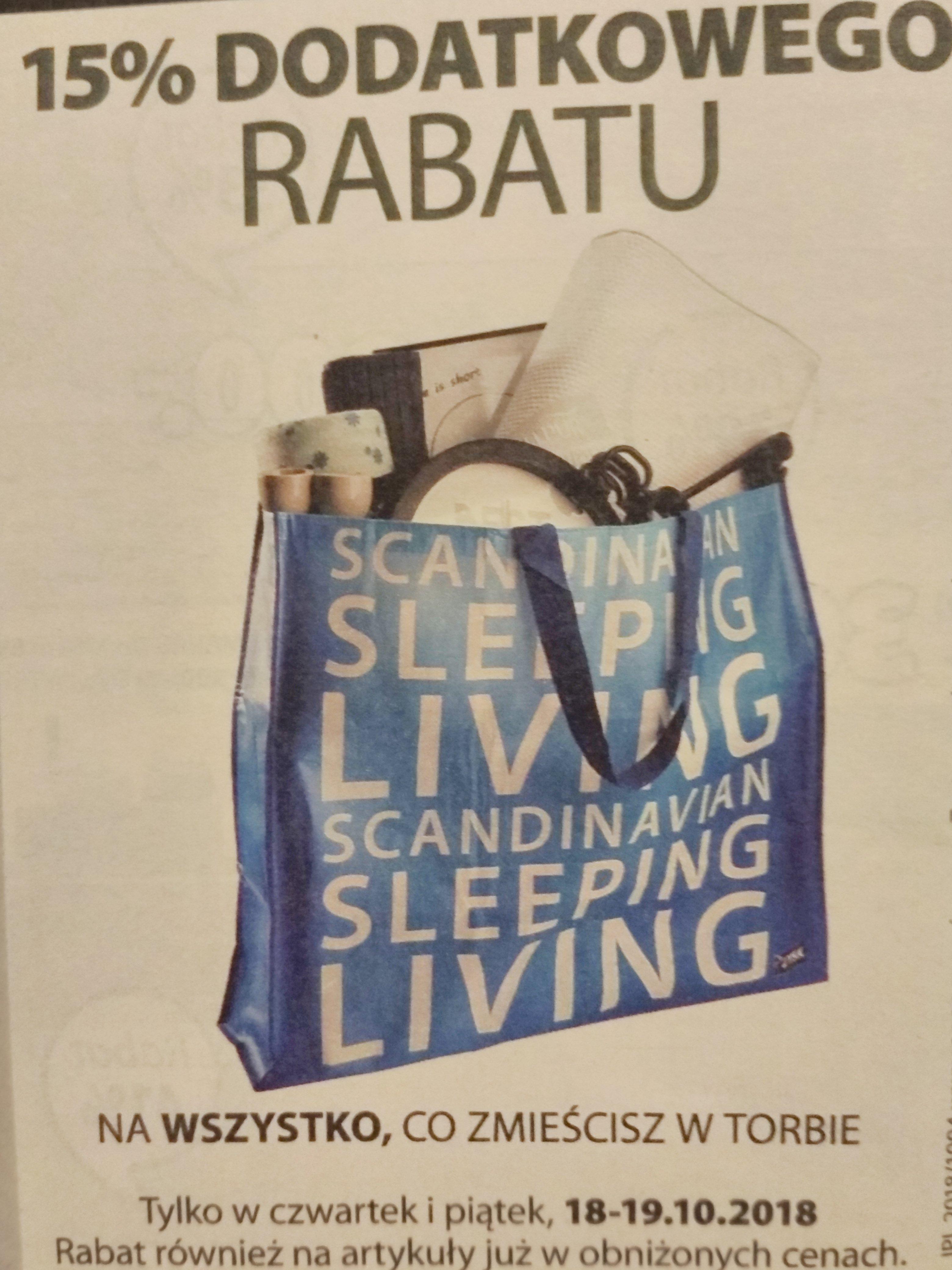 -15% DODATKOWEGO RABATU JYSK  na wszystko, co zmieści się w torbie!!!