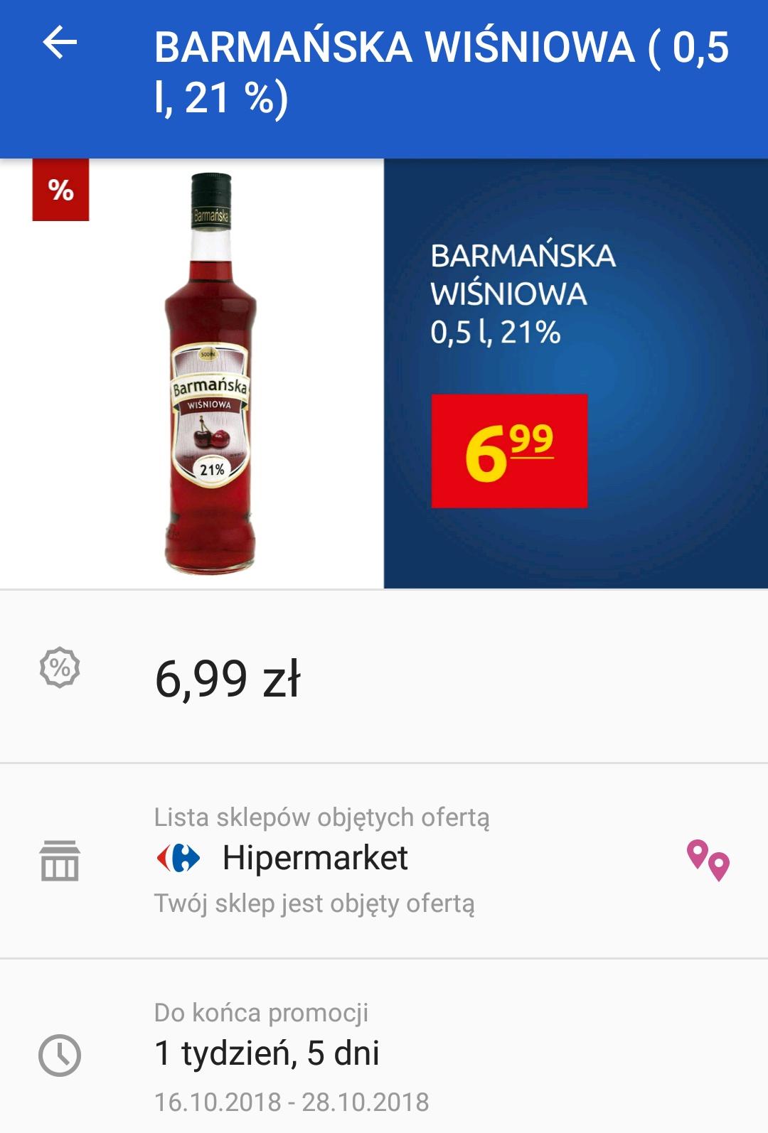 Barmańska Wiśniowa 21% 0,5l @Carrefour