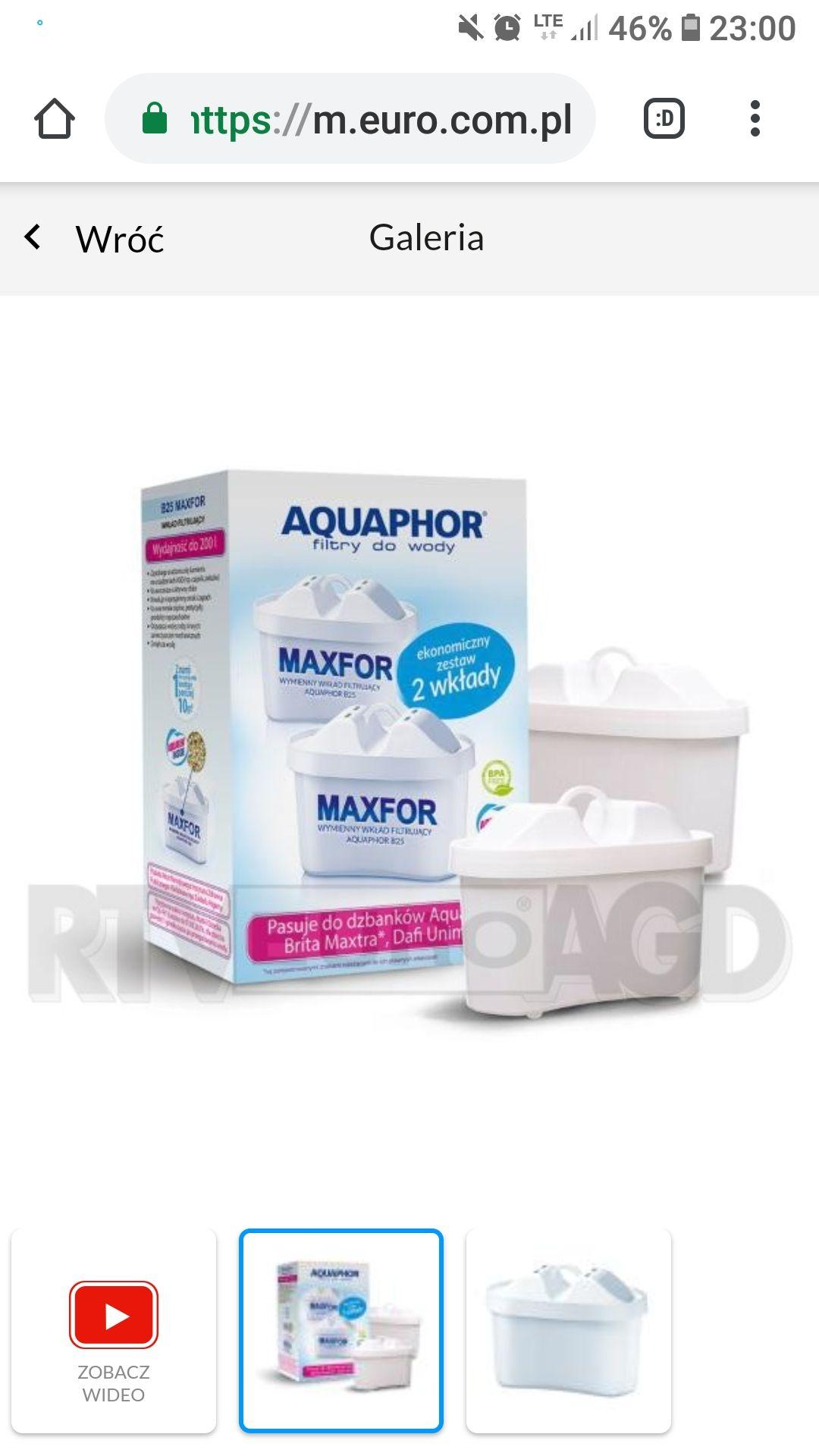 4 filtry do wody aquaphor maxfor 7.42zł/sztuka @ euro.com.pl