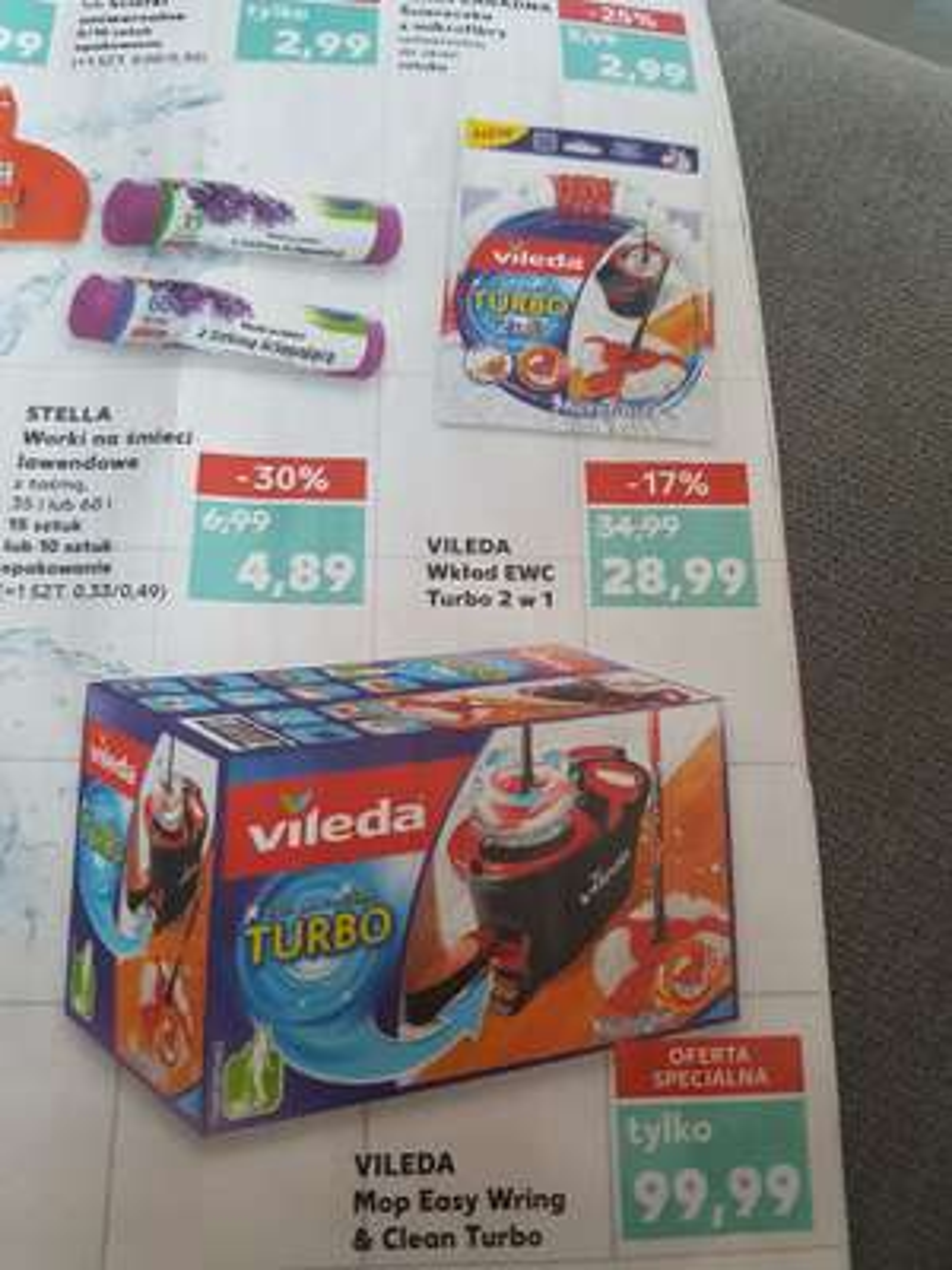 Kaufland Vileda Mop Easy Wrign & Clean Turbo 99.99zl oraz Vileda Ultramax 79.99zl