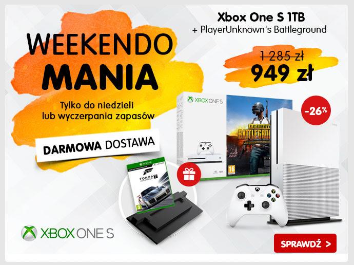 Konsola Xbox One S 1TB + PlayerUnknown's Battlegrounds + Forza 7 + podstawka