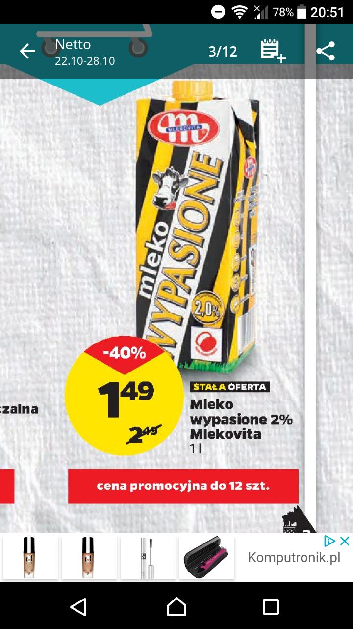 Netto. Mleko wypasione 2% za jedyne 1.49 zł Okazję na niedzielę 28 Października.
