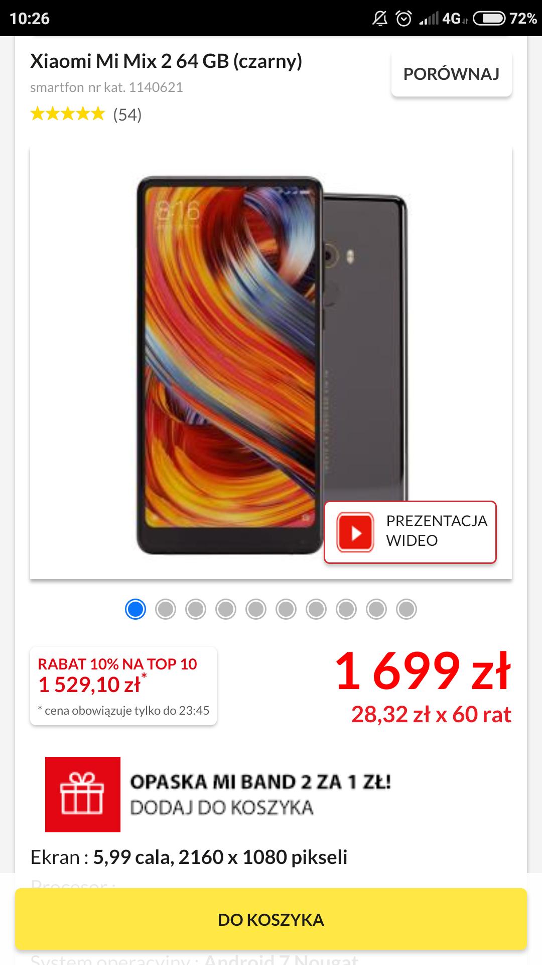 RTV euro AGD Xiaomi mi mix 2 + opaska mi band 2