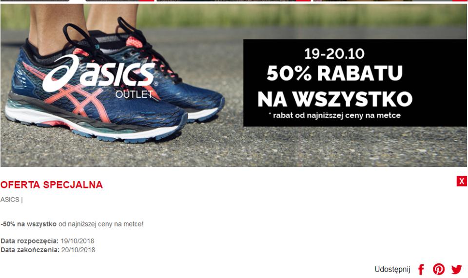 Minus -50% od najniższej ceny na metce w OUTLET ASICS Ursus factory Warszawa