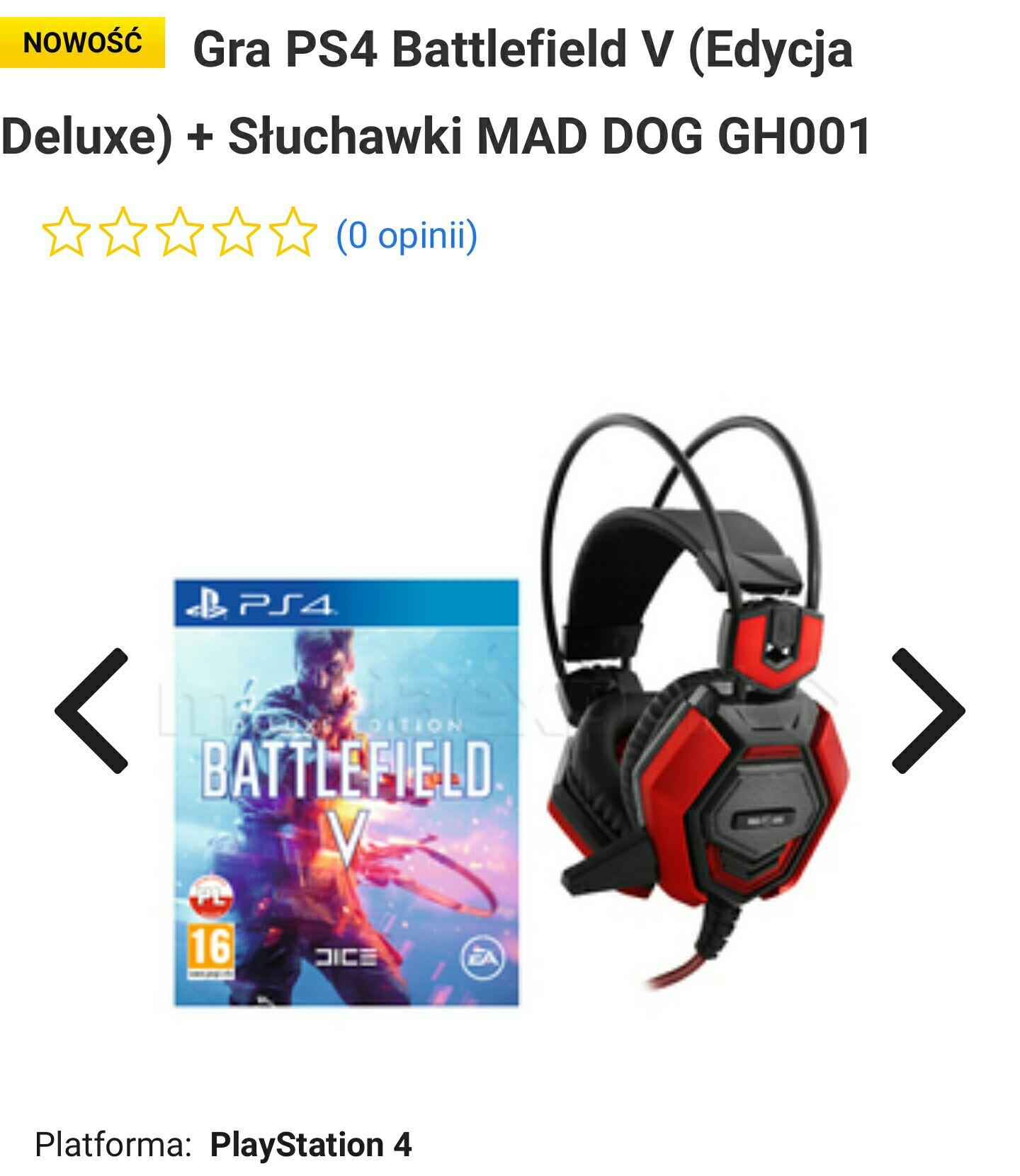 Battlefield V PS4 (Edycja Deluxe)+Słuchawki MAD DOG GH001 GRATIS