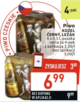 Piwo KOZEL Cerny albo Lezak 4-pak @Carrefour