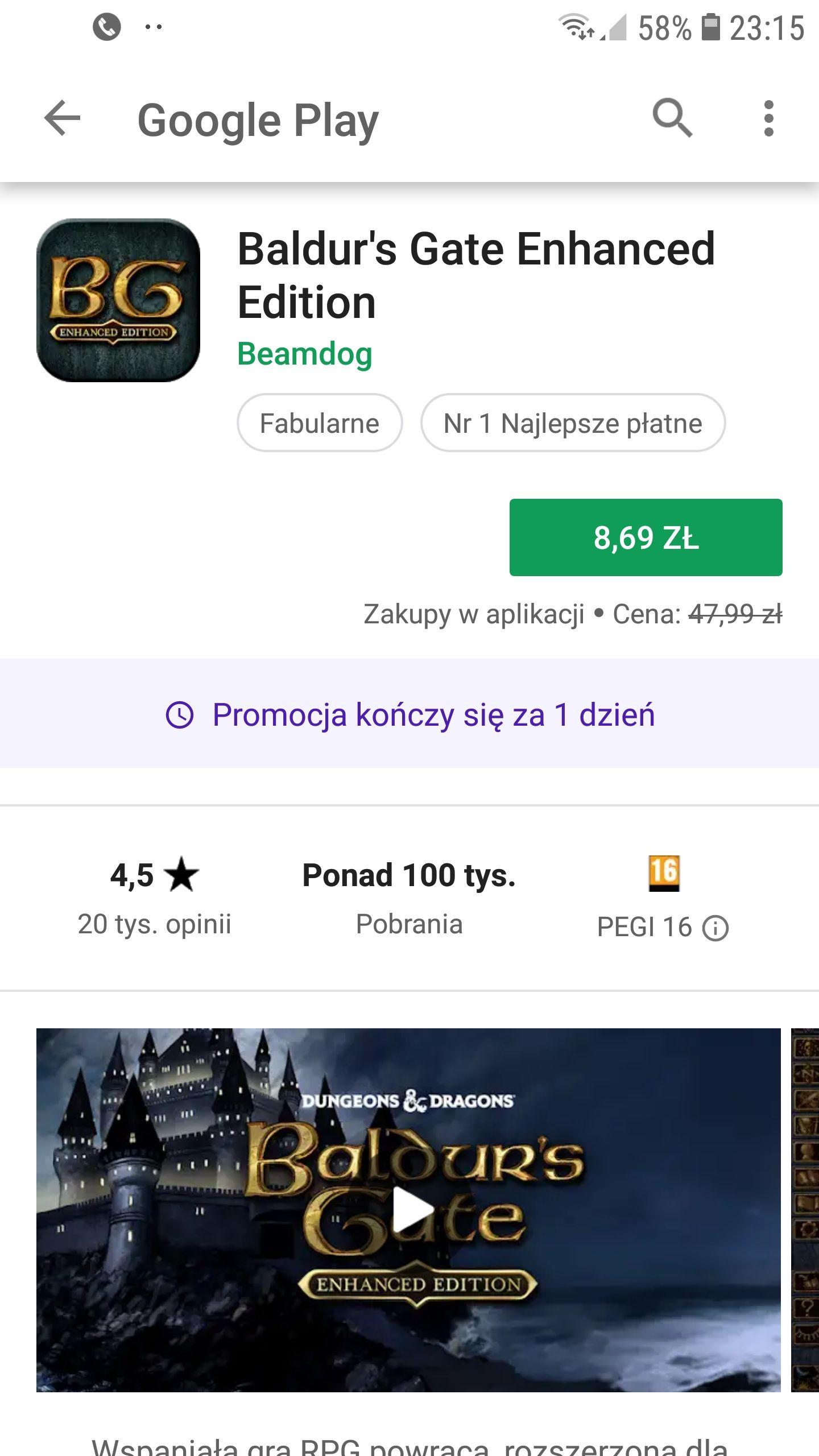 Baldur's Gate Enhanced Edition w wersji na Androida