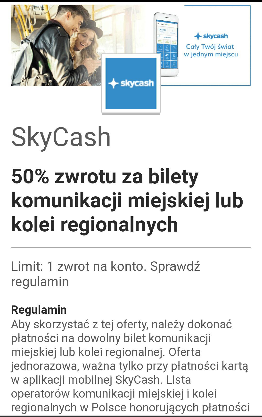 Visa Oferty: 50% zwrotu ceny biletu komunikacji miejskiej i kolejowej kupionego w SkyCash