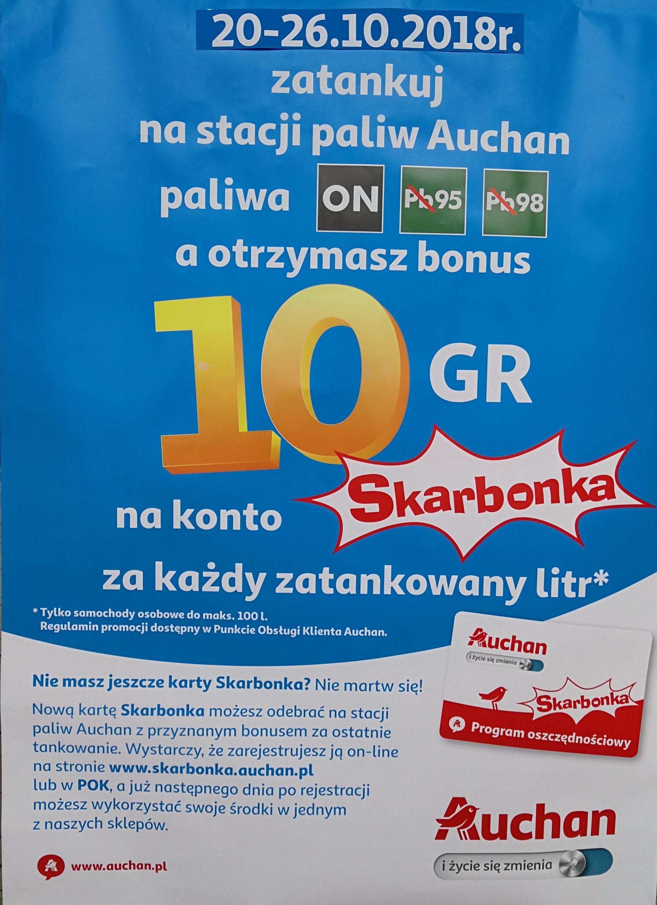 Bonus 10 groszy na kartę Skarbonka za każdy litr paliwa na stacji @Auchan