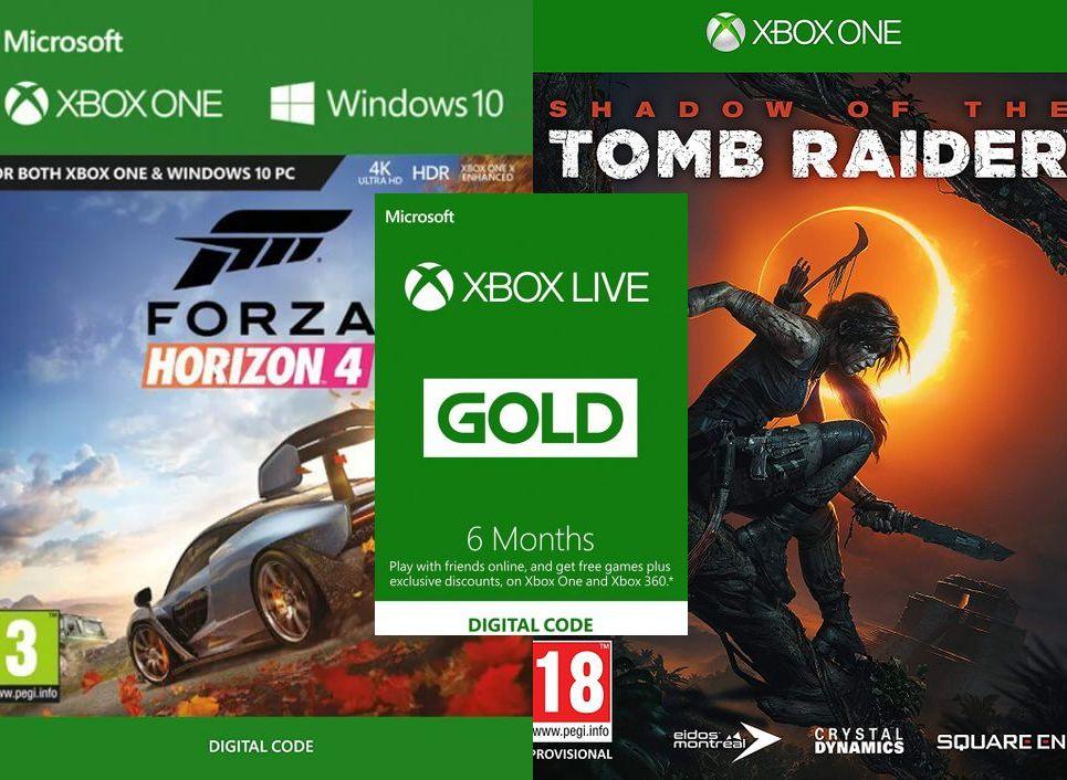 6 miesięcy Xbox Live Gold; Forza Horizon 4 189,69zł; Shadow of the Tomb Raider  150,49zł