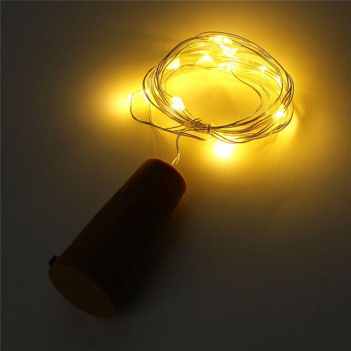 Lampki led na baterie (2m, 20 ledów na miedzianym durcie) @ Zapals