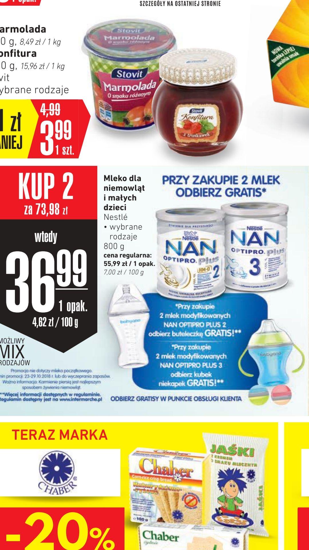 INTERMARCHE. Mleko modyfikowane NAN OPTIPRO PLUS 2;3 taniej przy zakupie 2 szt. + Gratis!