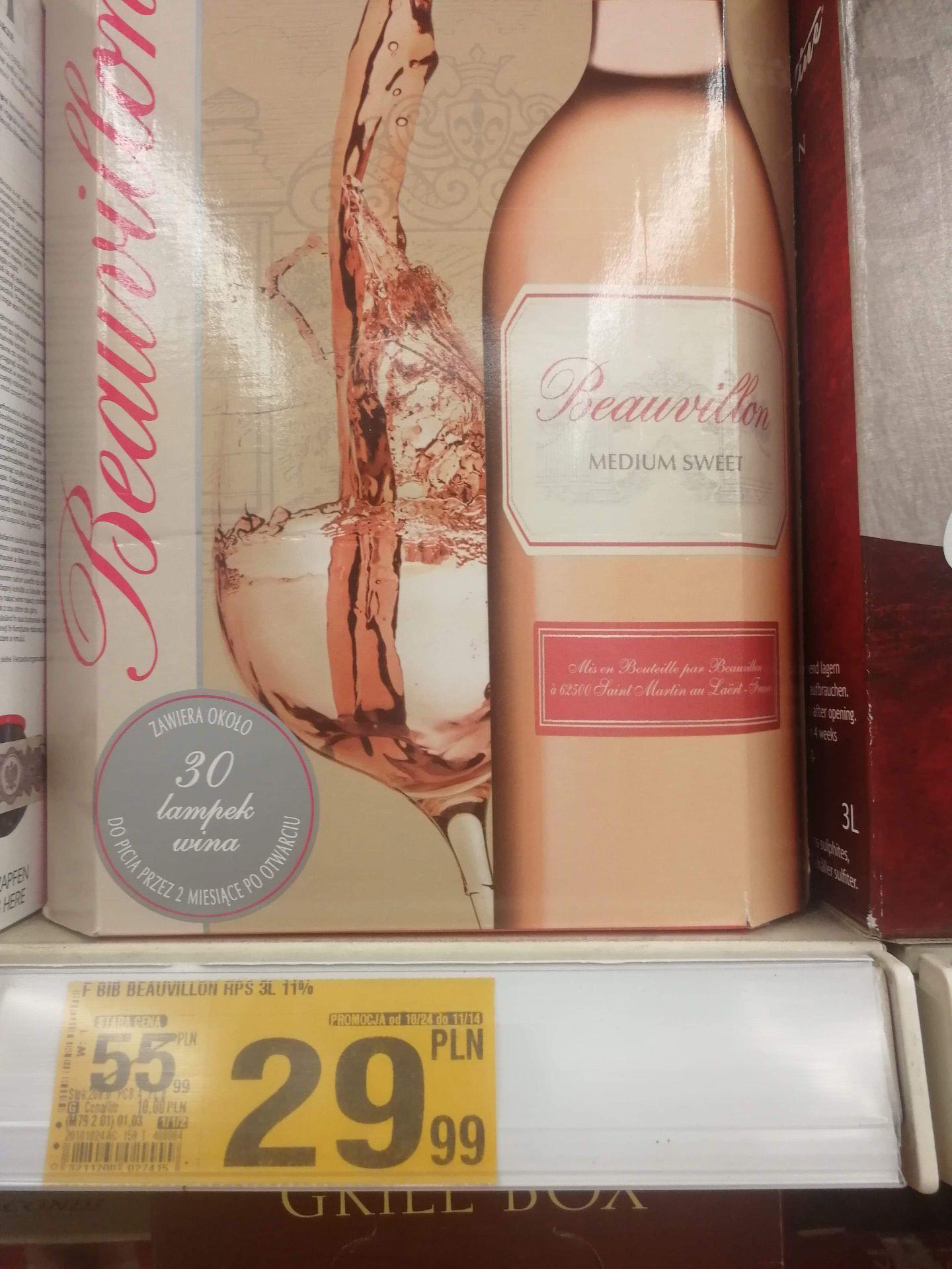 3 litrowe Wino Beauvillon pół słodkie | Auchan Gdańsk Szczęśliwa