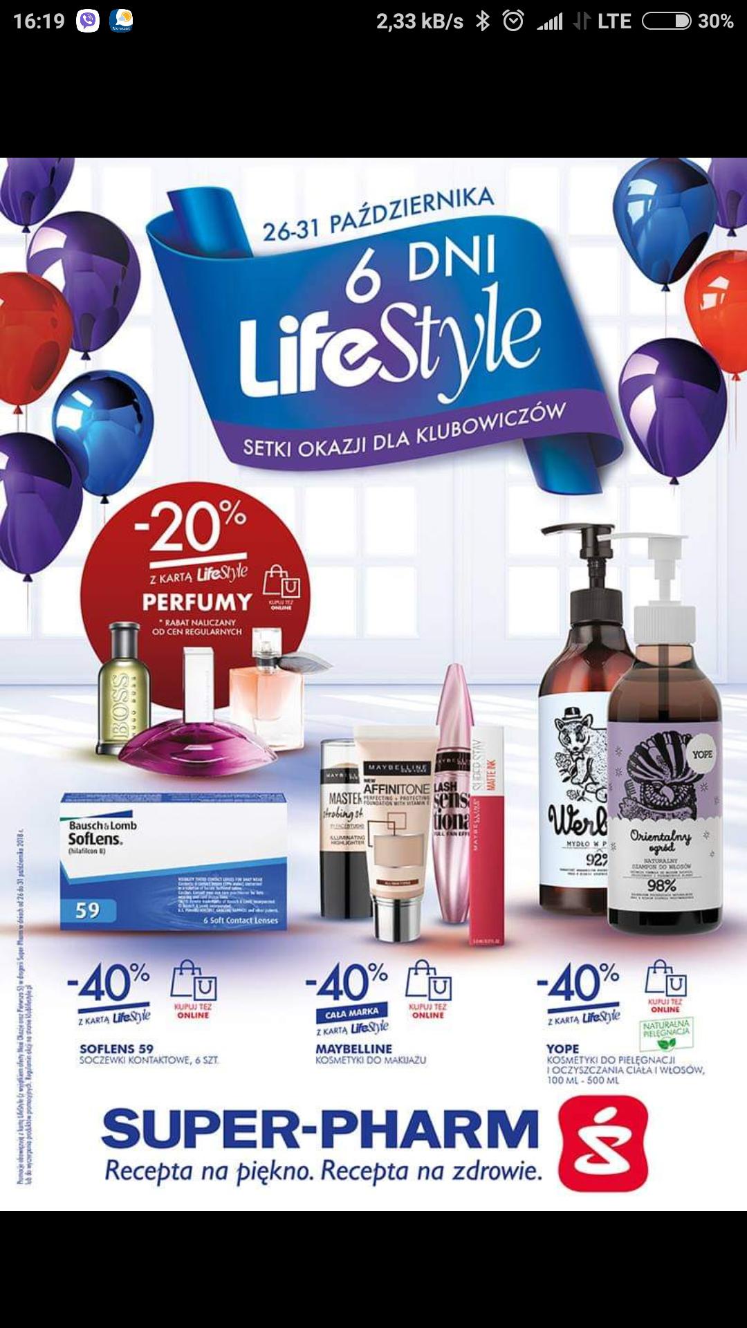 Super Pharm 6 dni lifestyle dużo marek do - 50% @super pharm