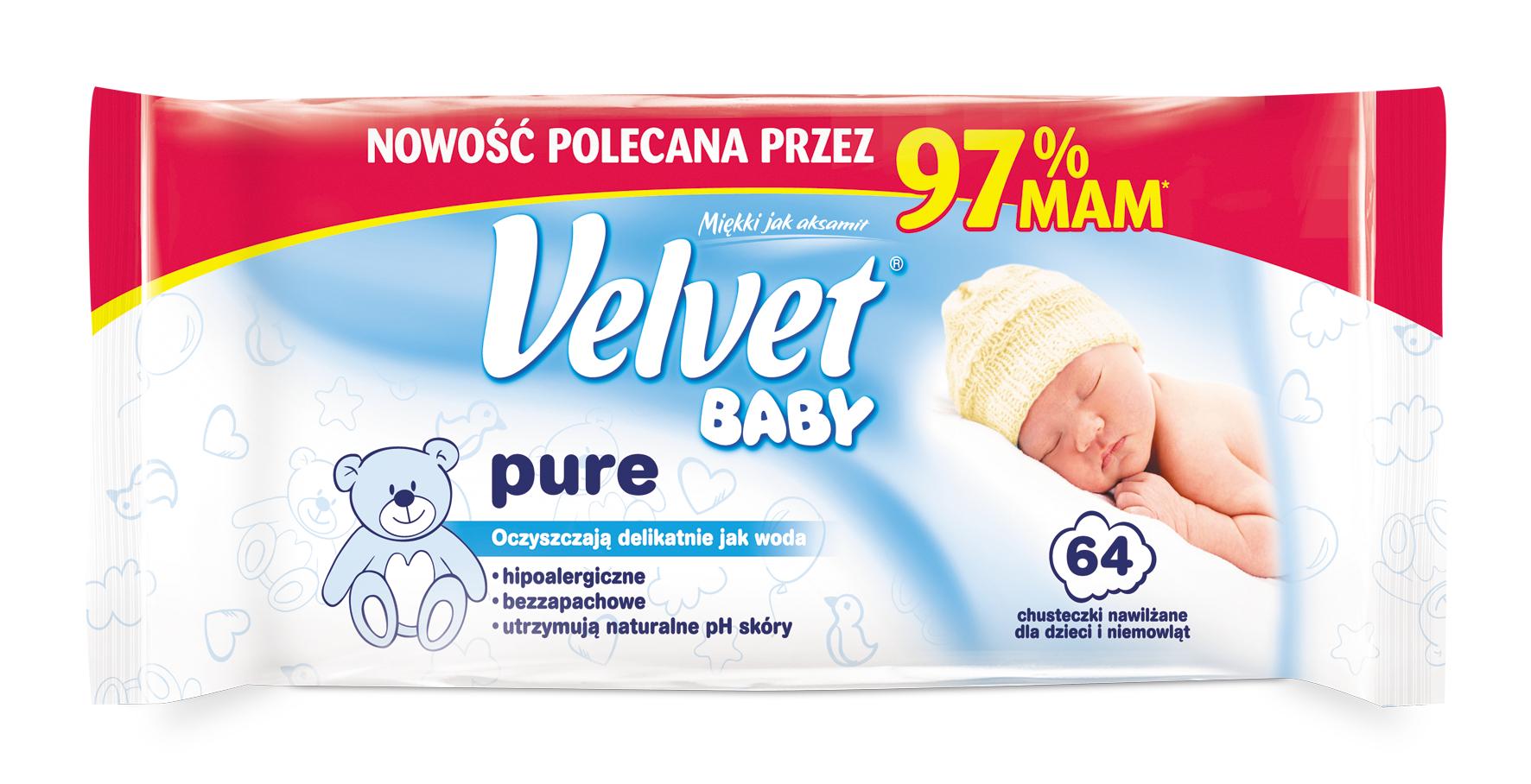 Chusteczki nawilżane dla dzieci i niemowląt VELVET BABY Pure i Sensitive