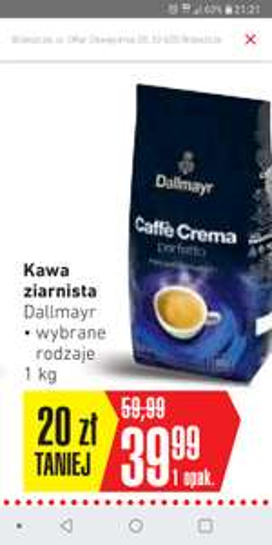 Kawa ziarnista 1kg Dallmayr w intermarche za 39.99 zł