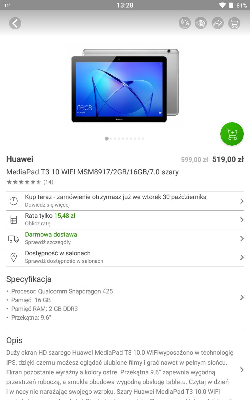 Huawei MediaPad T3 10 WIFI MSM8917/2GB/16GB/7.0 szary