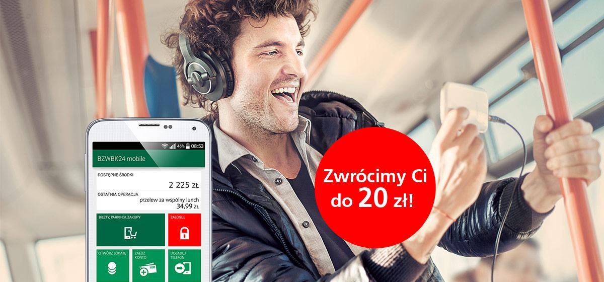 20zł zwrotu za bilety komunikacji miejskiej z BZWBK24 mobile
