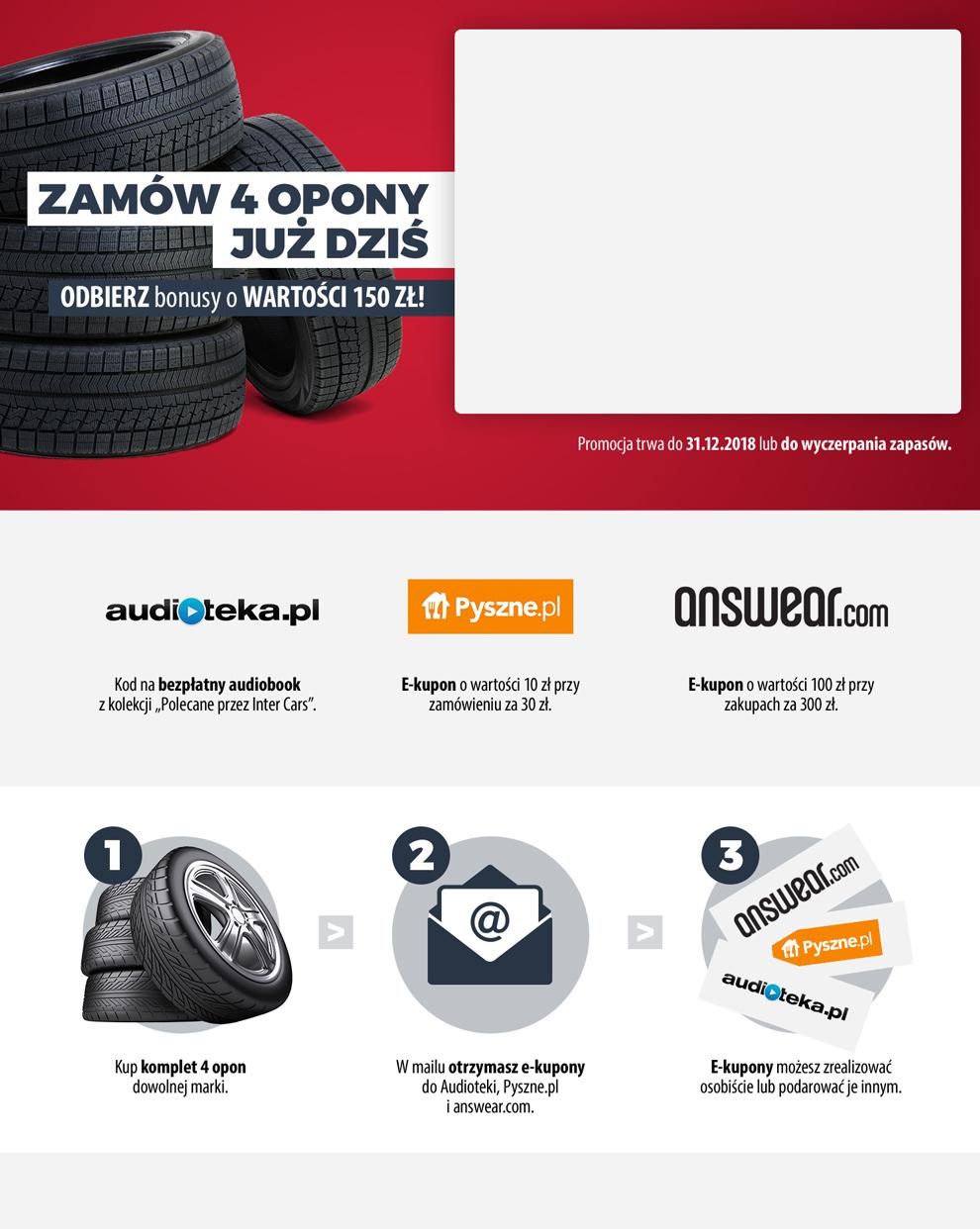 Audiobook, kupon 10zł pyszne.pl oraz 100zł Answear za zakup 4 opon w InterCars