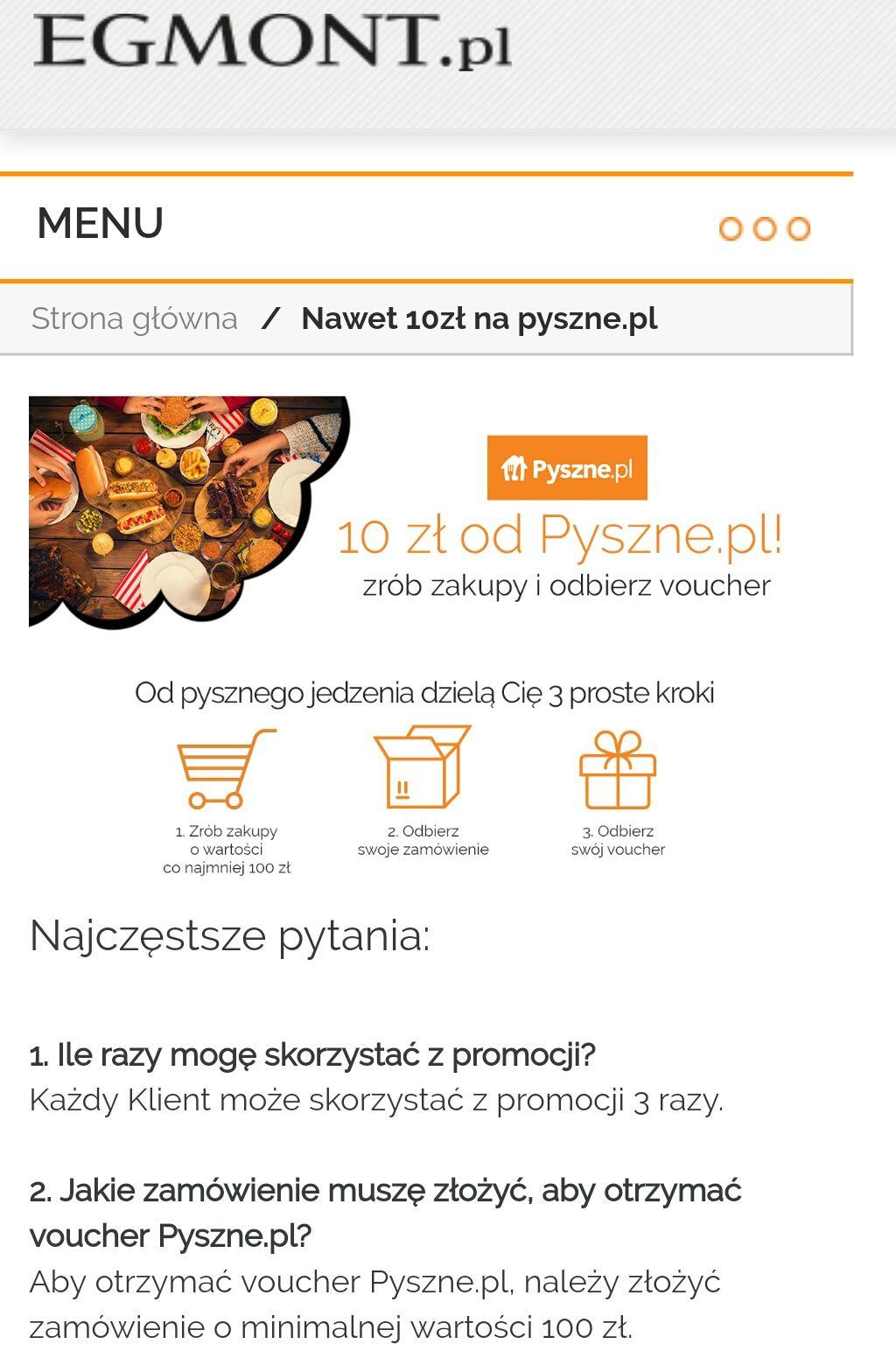 10zł na pyszne.pl od egmont.pl za MWZ za 100zł