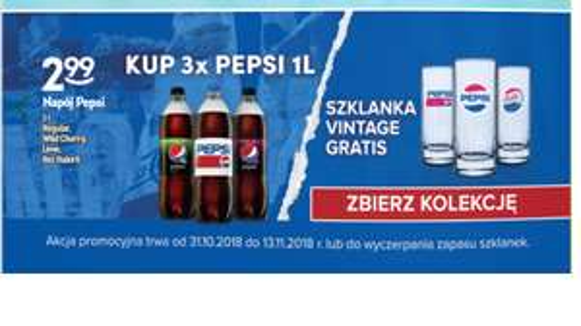 Promocja Pepsi + szklanka,  Żabka