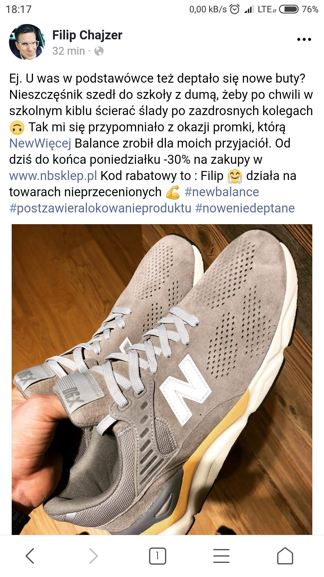 -30% na nieprzecenione buty New Balance od Filipa