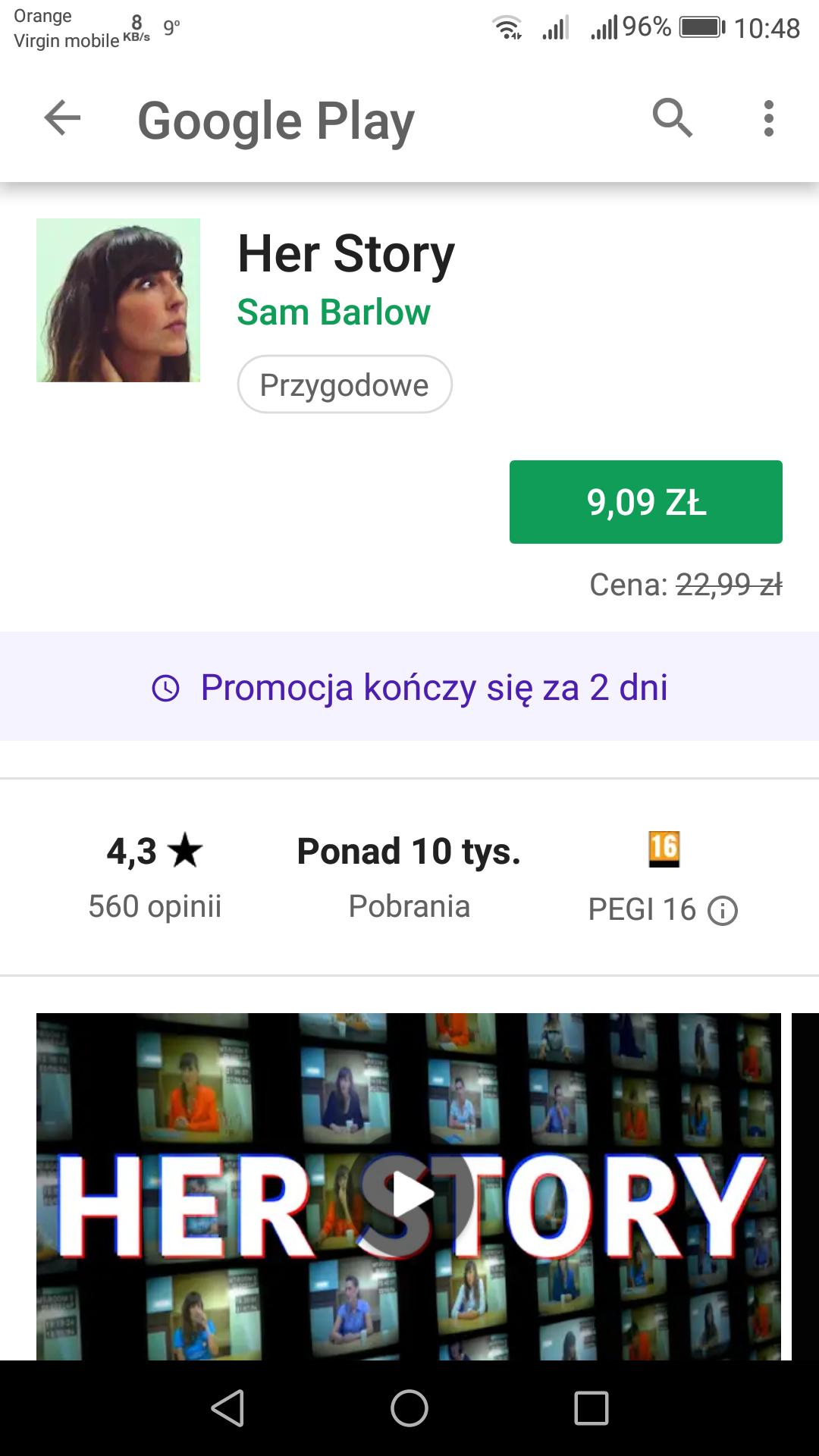 Gra Her Story na Google Play