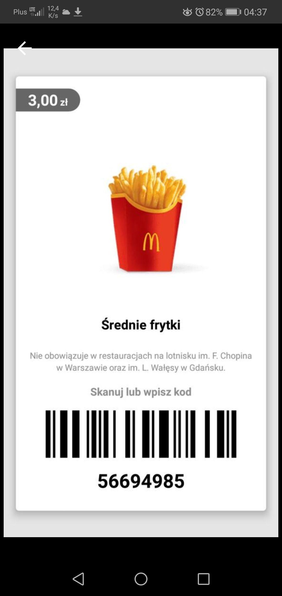 Średnie frytki + zestaw Big Mac McDonald's