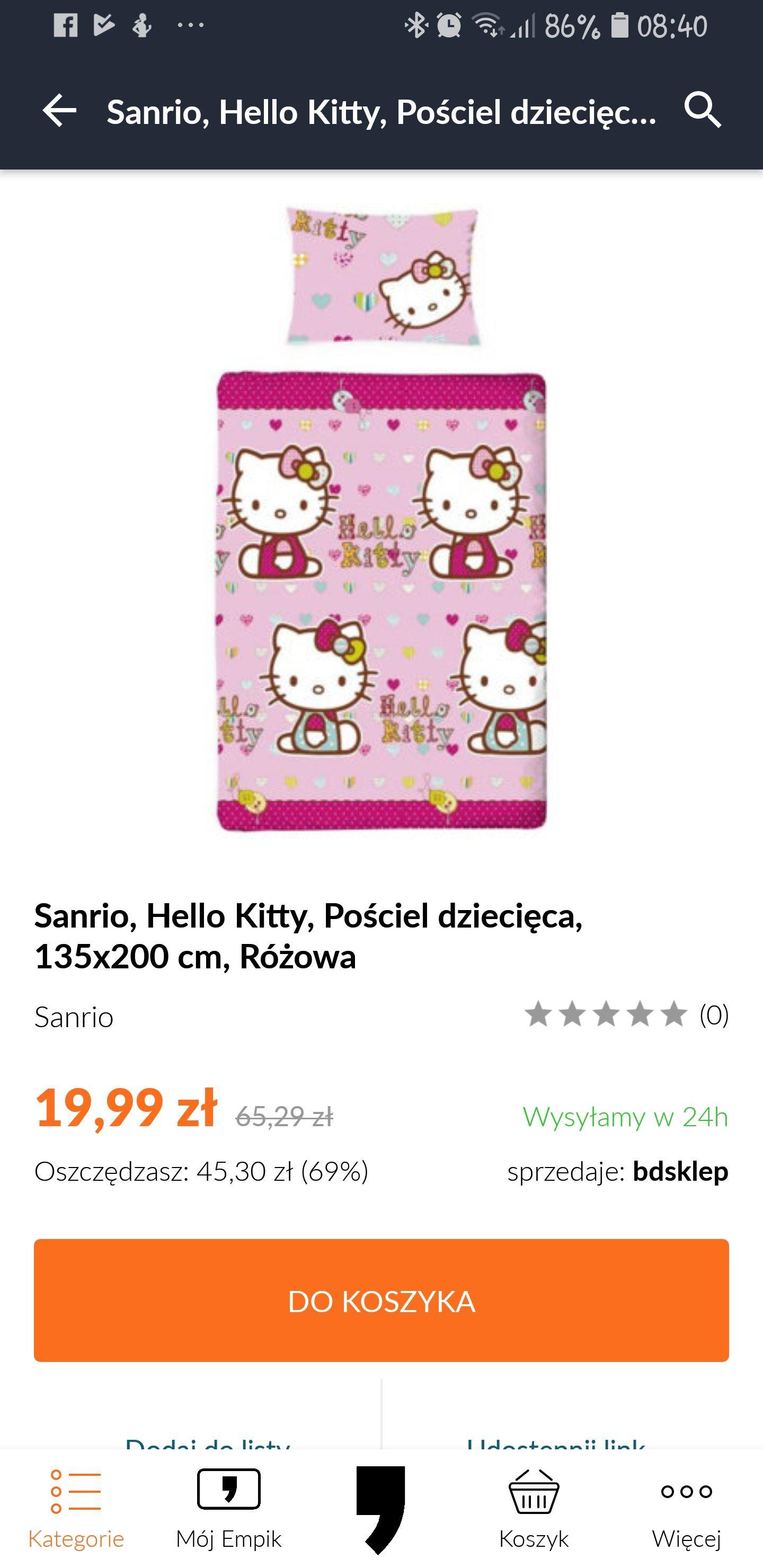Empik pościel dziecięca Hello kitty