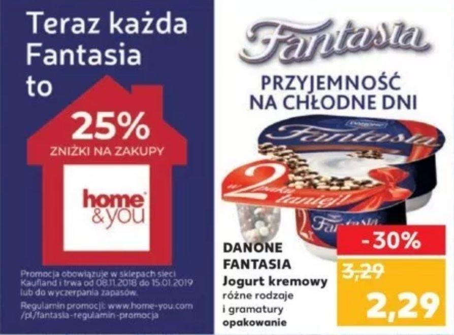 -25% na zakupy w home&you za zakup jogurtu Fantasia w Kauflandzie