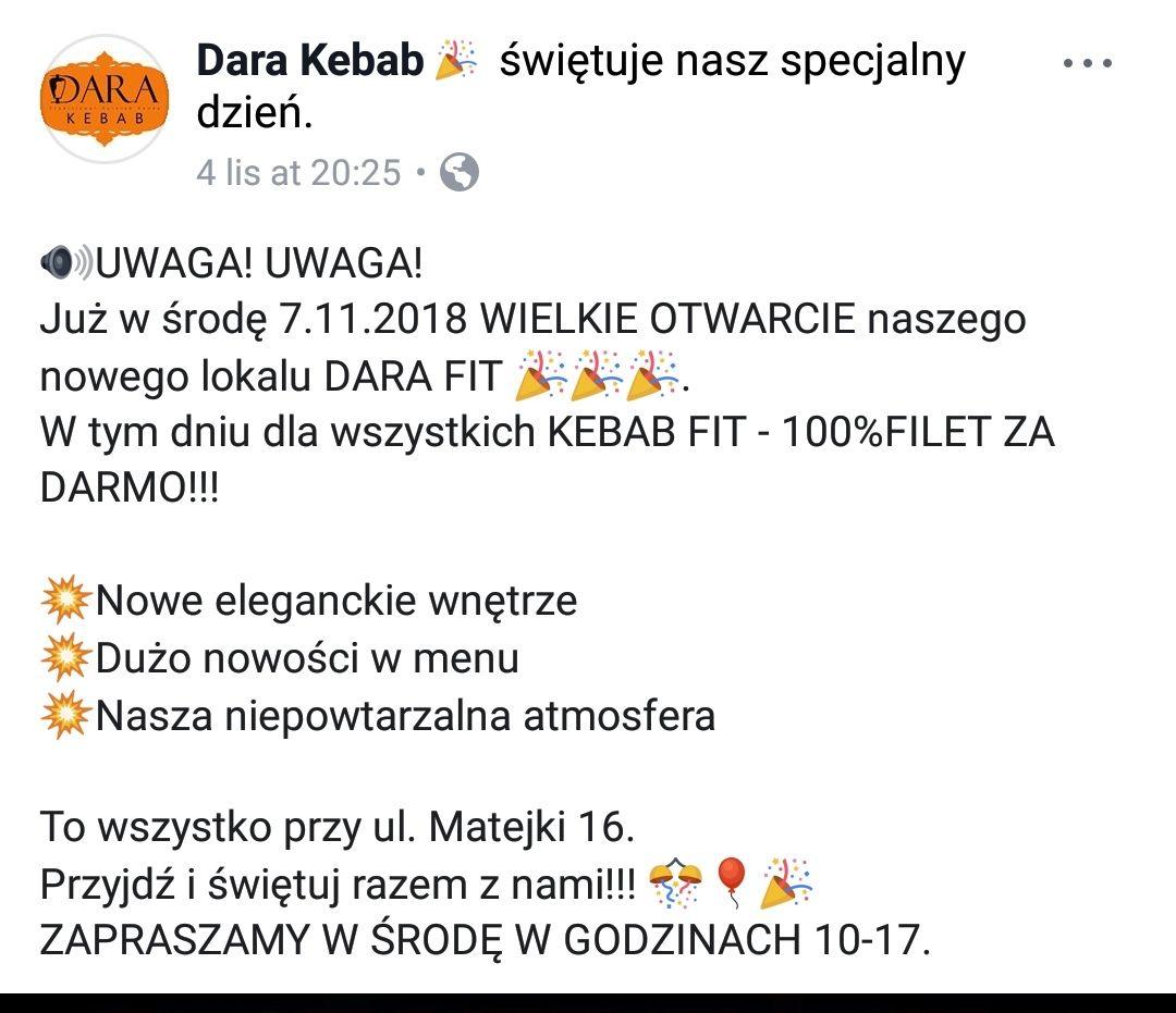 Darmowy kebab w Dara fit (Rzeszów)