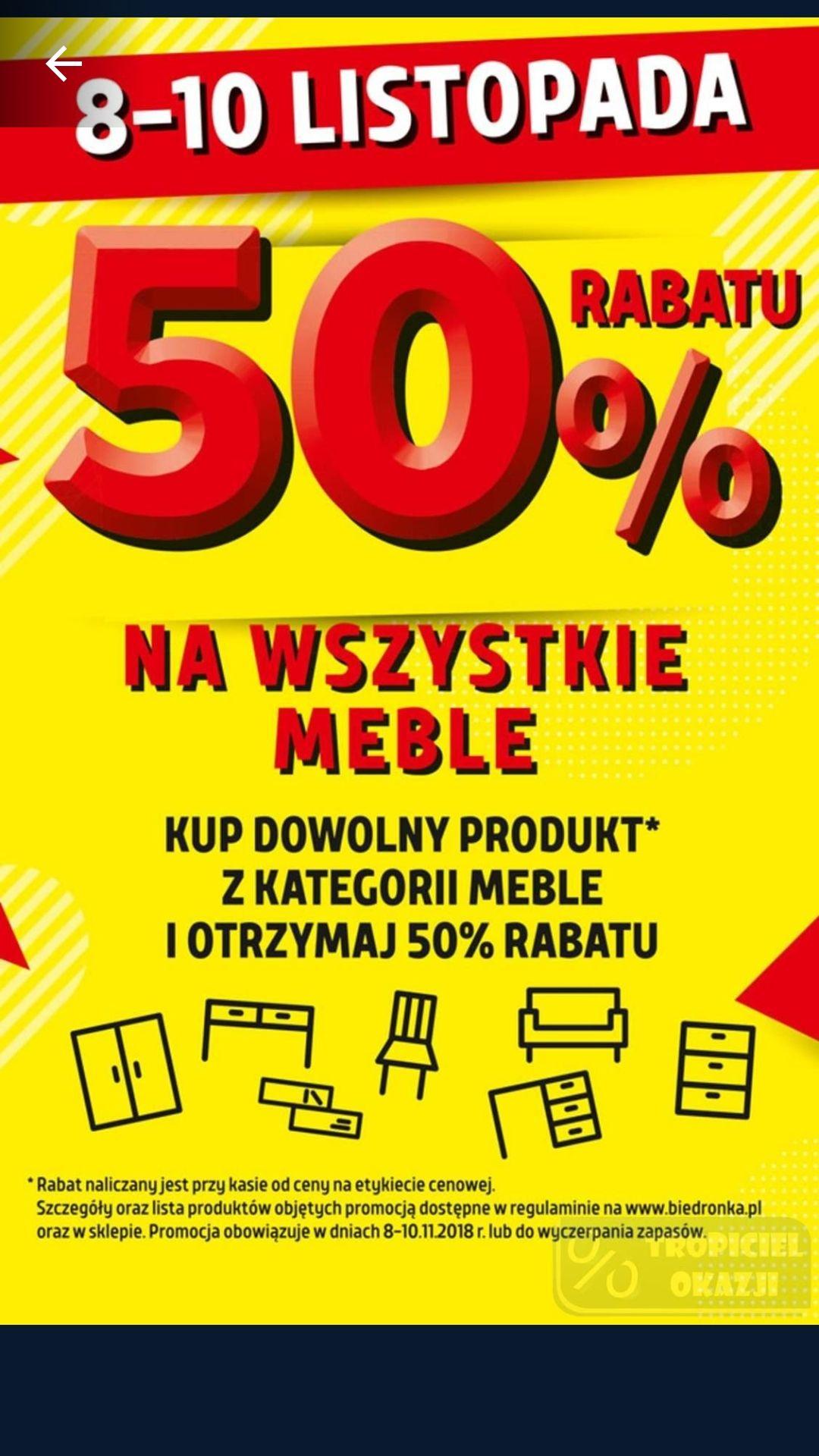 Biedronka -50% na meble