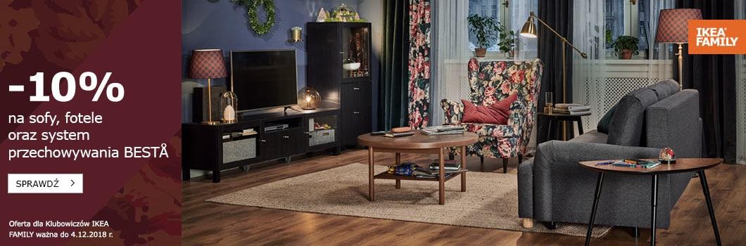 -10% na sofy, fotele, BESTA, -15% na pledy, poduszki, dywany, świece oraz -50zł na komody MALM @ Ikea